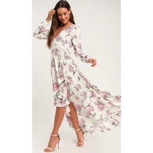 LET IT BE WHITE FLORAL PRINT WRAP MAXI DRESS
